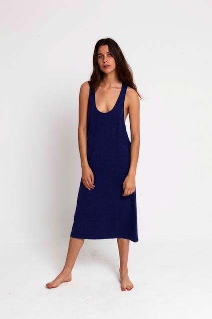THINKING MU - Thinking Mu Blue Lazy Hemp Dress WDR00024