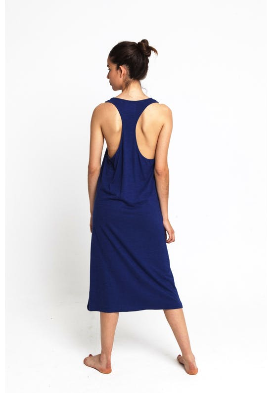 Blue Lazy Hemp Dress WDR00024