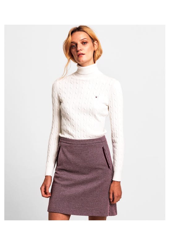 Stretch Cotton Cable Turtleneck