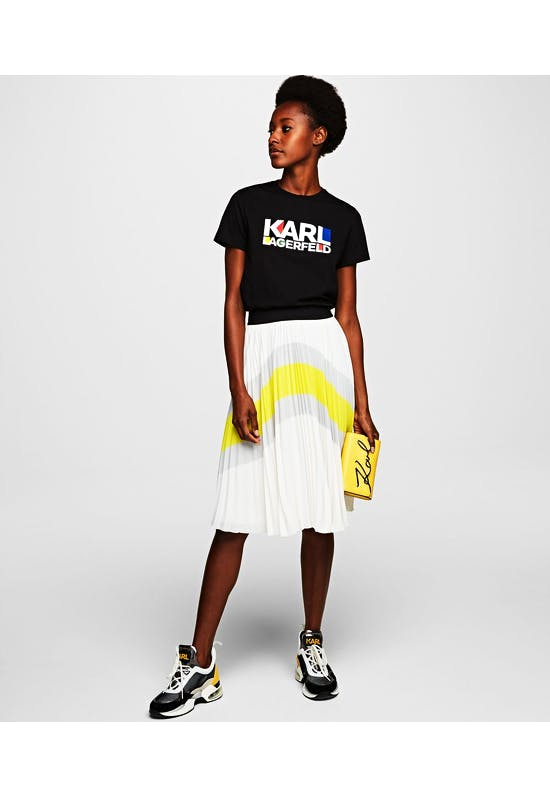 Colour Block Pleated Skirt