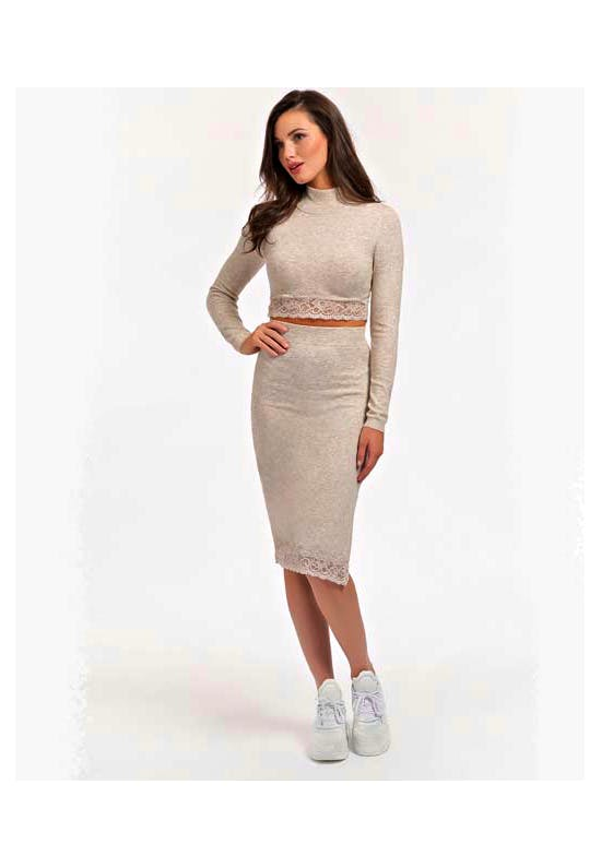 Althea Skirt Sweater Soft And Lace