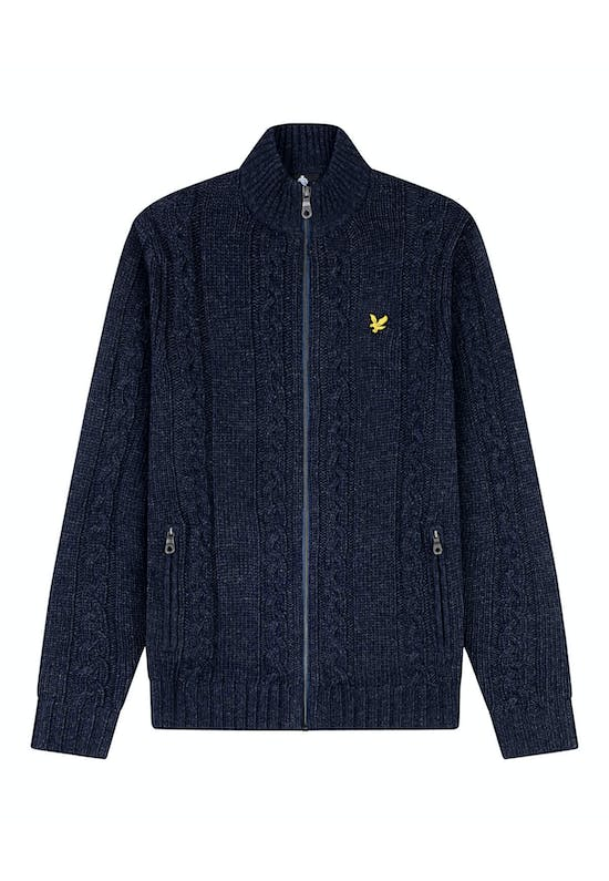 Zip Through Cardigan In Cable Knit