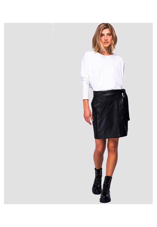 Eco-Leather Skirt With Python Print