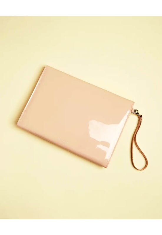 Harliee Vinyl Bow Detail Pouch Pink