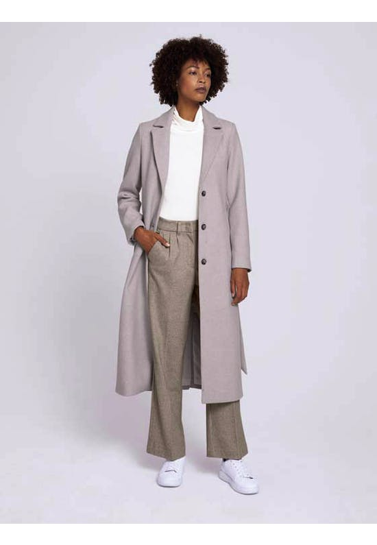Wool Coat With A Belt