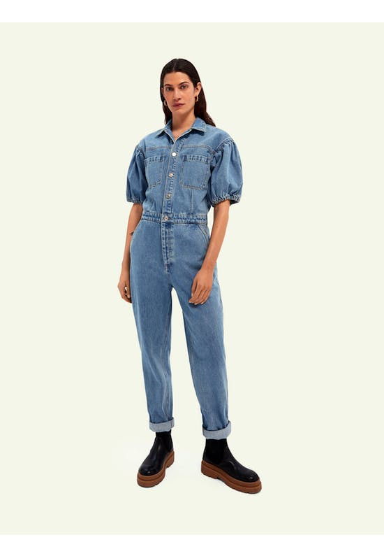 Washed Denim Jumpsuit With Balloon Sleeves