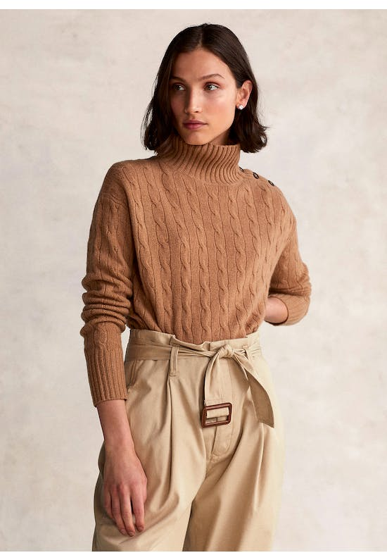 Buttoned-Placket Roll neck