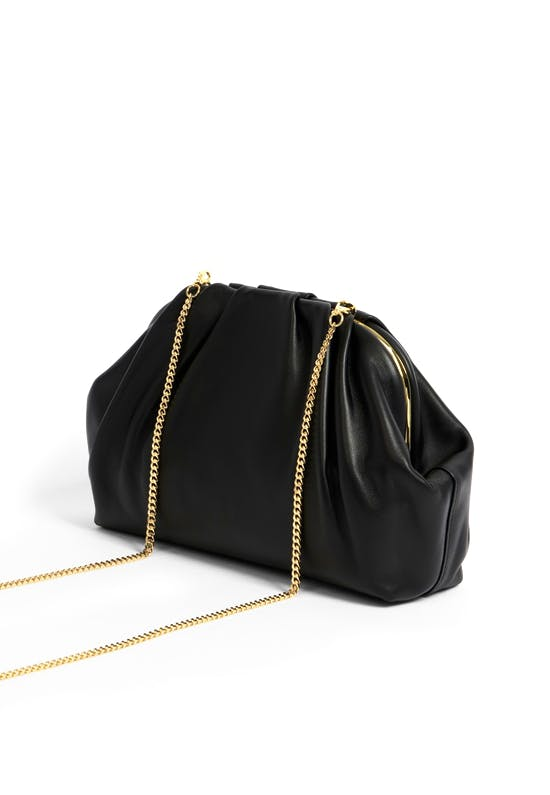 Abyoo Gathered Leather Clutch Bag