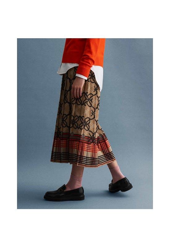 Pleated Rope Print Skirt
