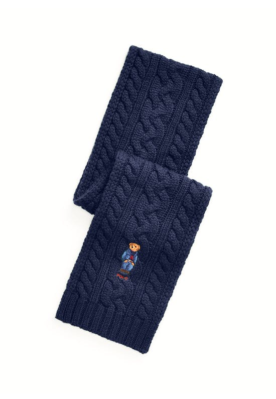 Polo Bear Cable-Knit Scarf