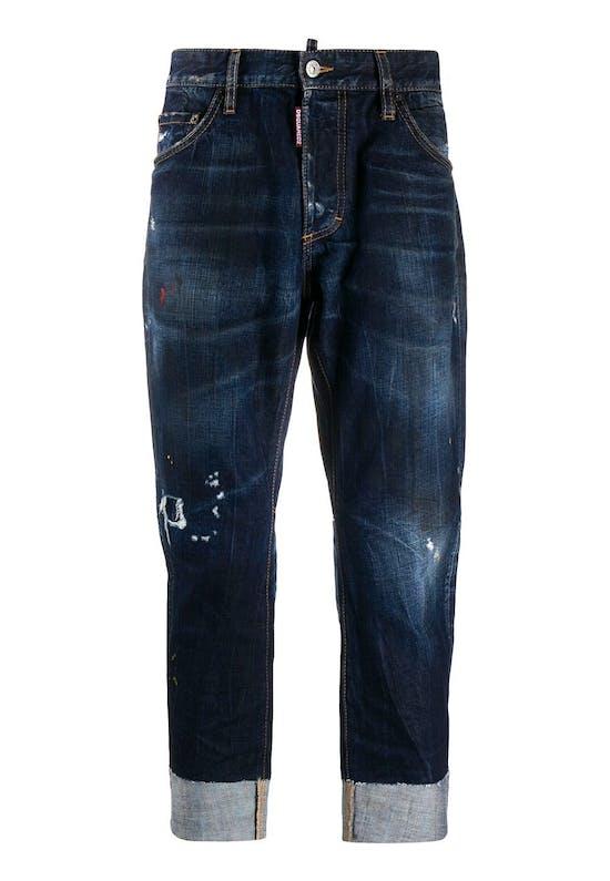 Distressed Turn-Up Cuff Jeans