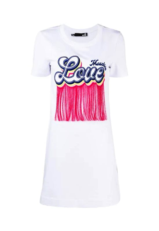 Fringed Logo Jersey Mini Dress