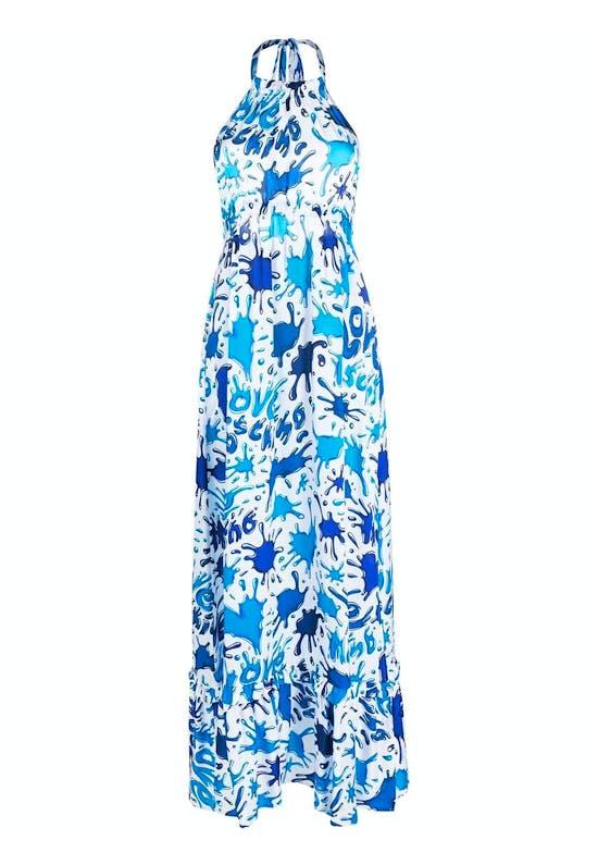 Splatter-Print Halterneck Dress