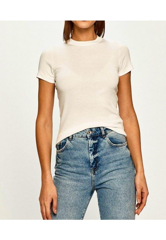 Rib Short Sleeve Knit T-Shirt