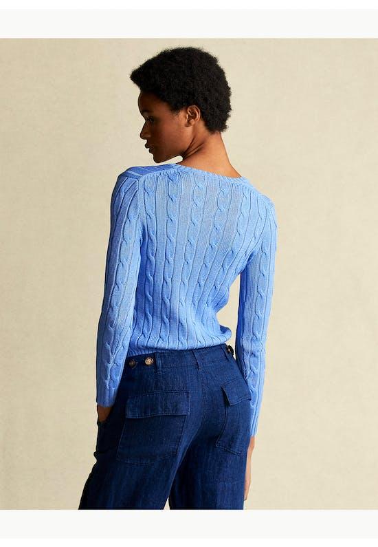 Cable-Knit Cotton V-Neck Jumper