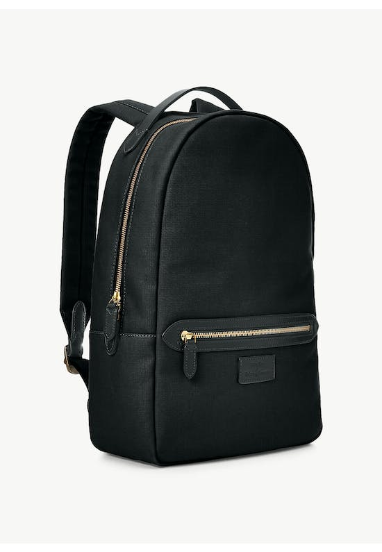 Leather-Trim Canvas Backpack