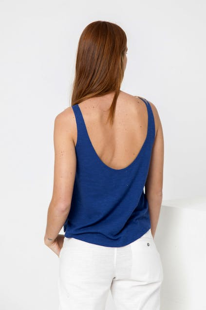 THINKING MU - Thinking Mu Blue Hemp Tank Top WTP00019